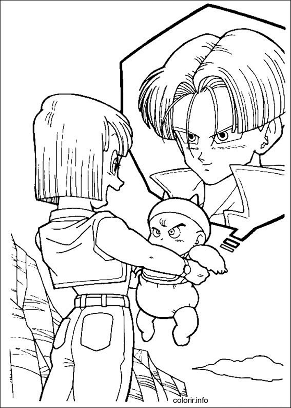 Facile dragon ball bebe trunks et trunks du futur avec - Dessin facile de dragon ...
