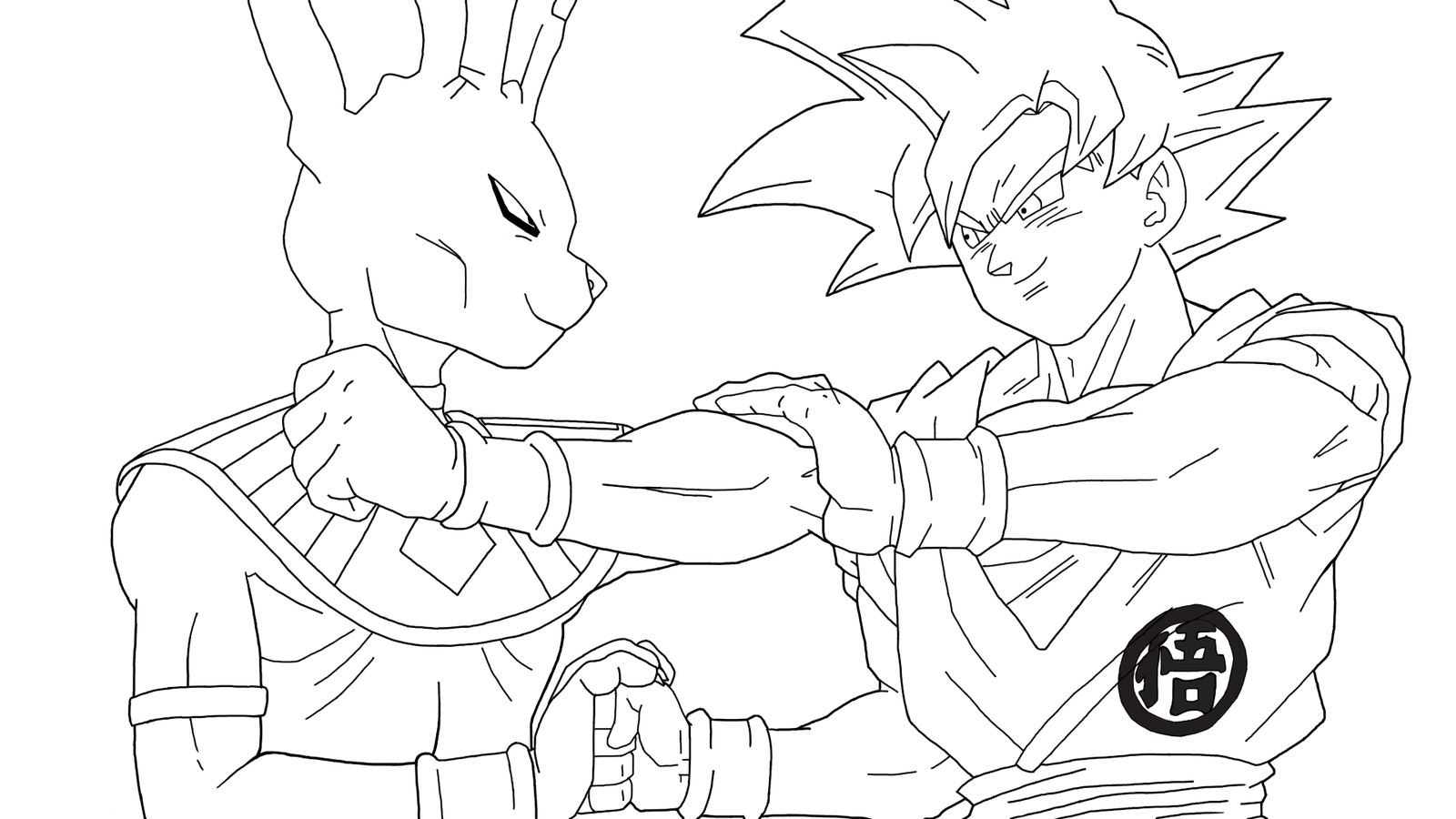 coloriage facile dragon ball beerus vs goku super