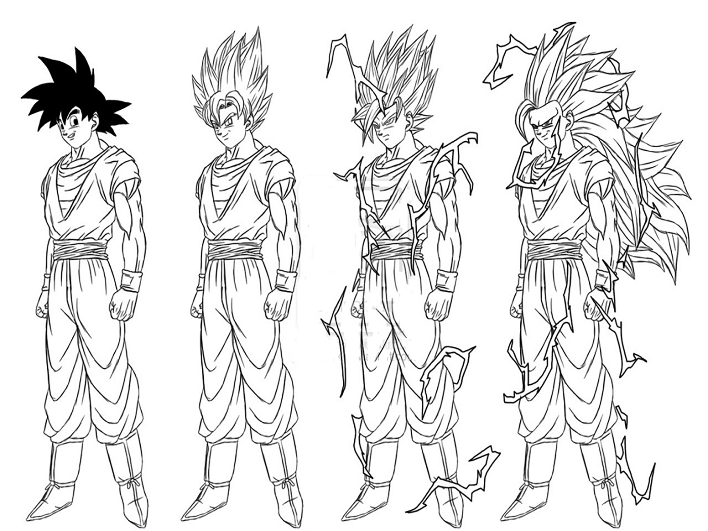 Facile dragon ball differentes transformation de goku coloriage dragon ball z coloriages - Dessin dragon ball z facile ...