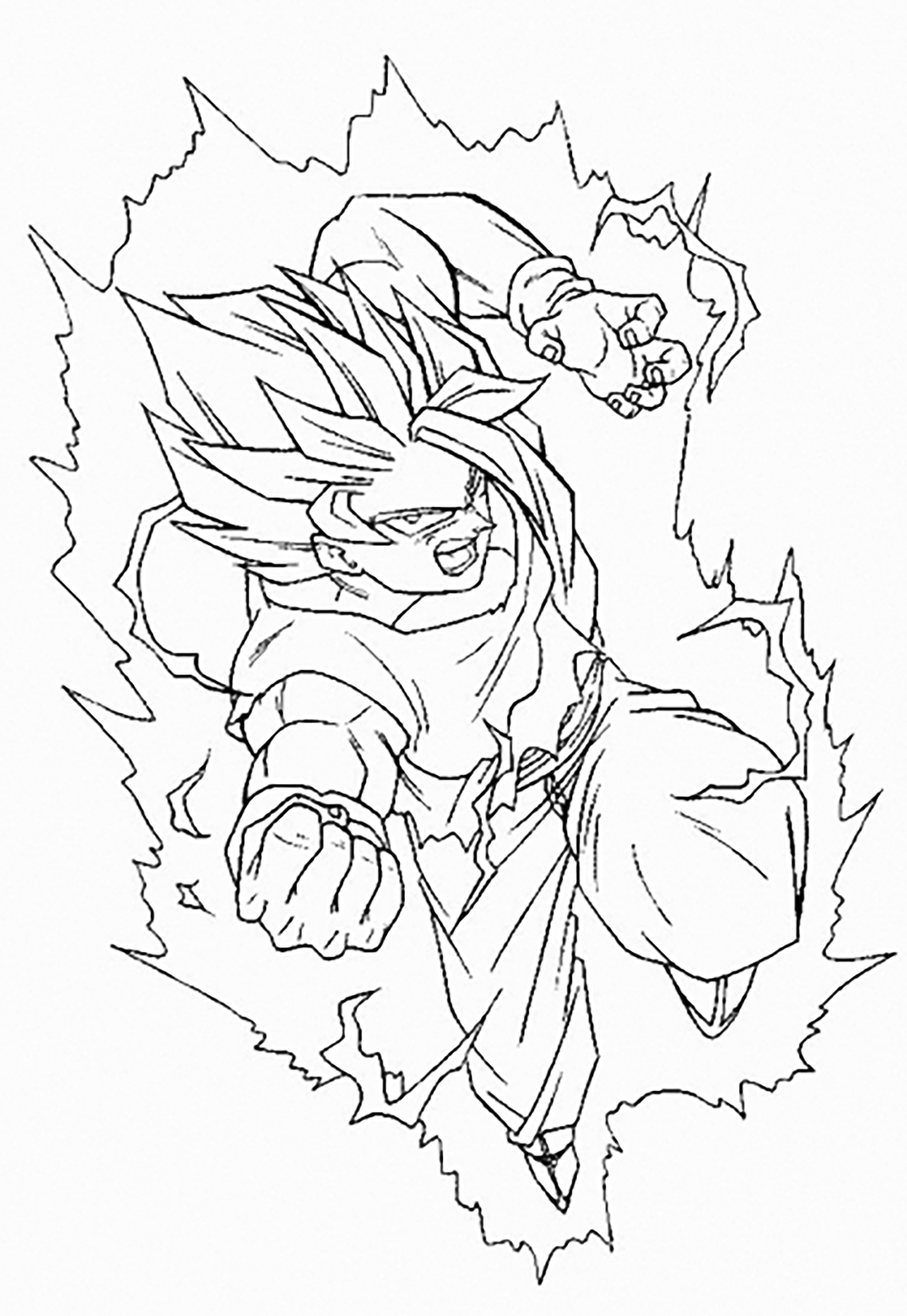 Facile dragon ball goku super saiyan 2 contre buu coloriage dragon ball z coloriages pour - Dessin de dragon ball super ...