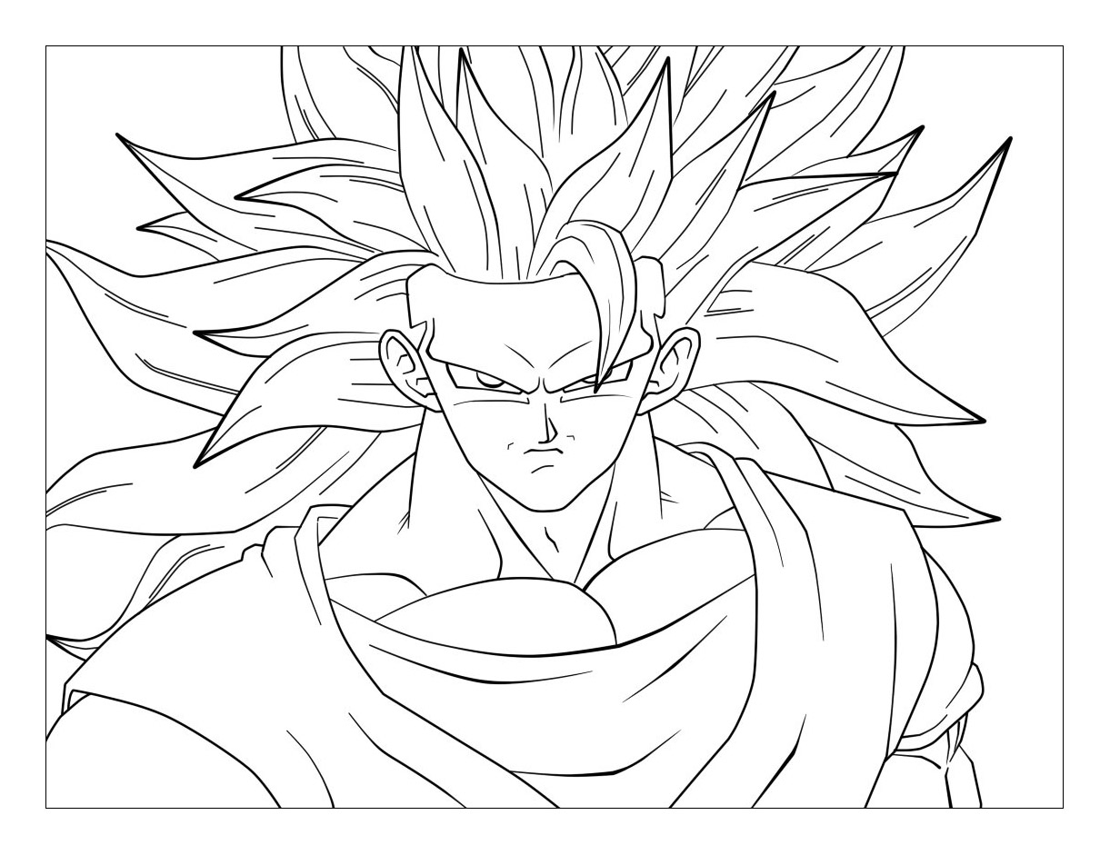 Facile dragon ball goku super saiyan 3 coloriage dragon ball z coloriages pour enfants - Dessin dragon ball z facile ...