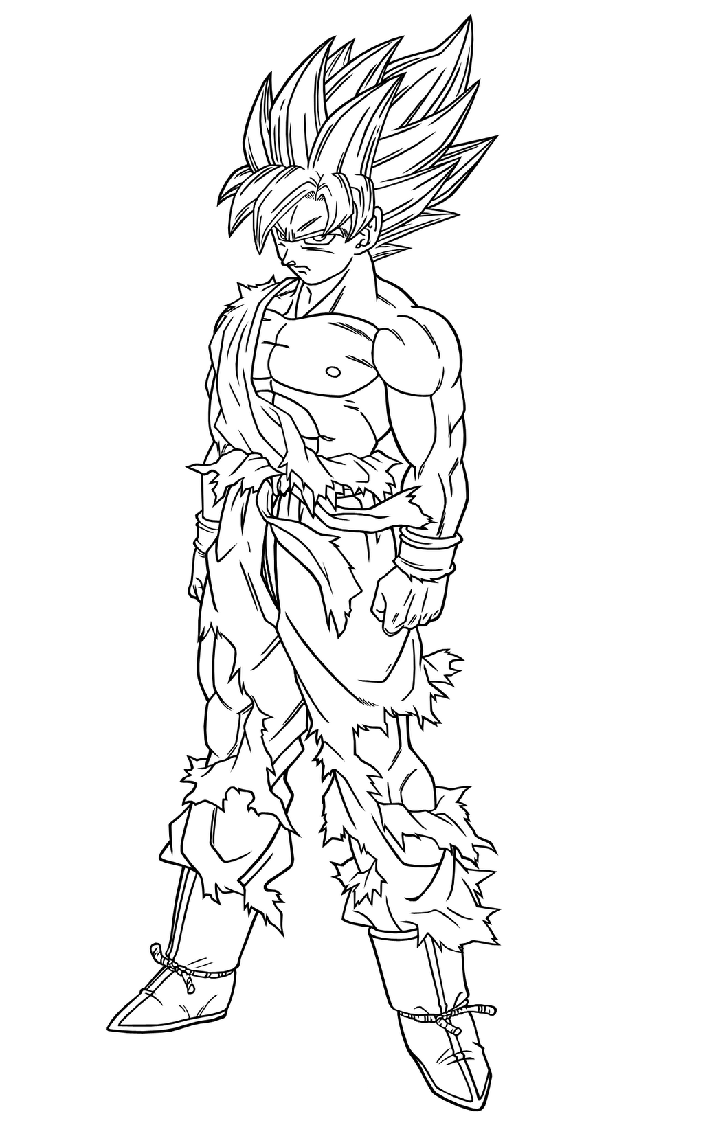 coloriage facile dragon ball goku super sayian contre freezer