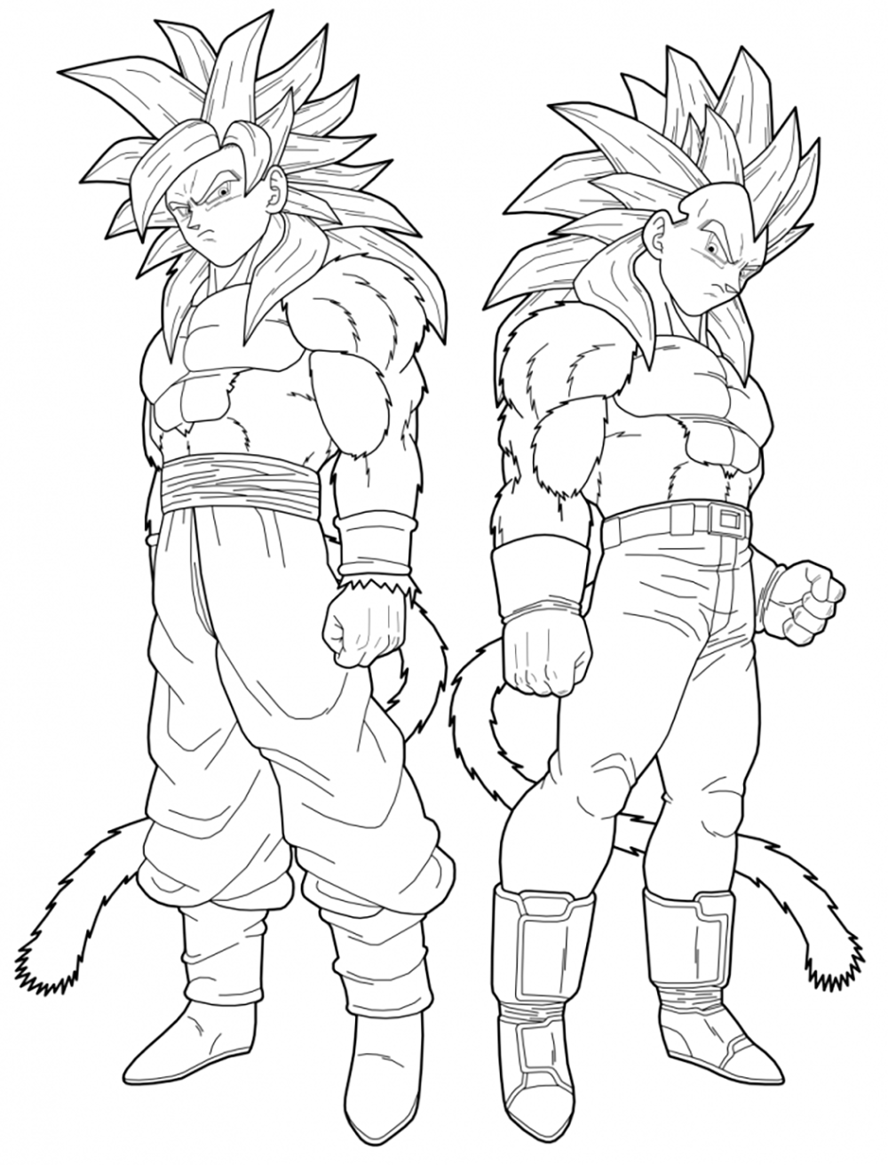 Facile Dragon Ball Gt Goku Et Vegeta Coloriage Dragon Ball Z