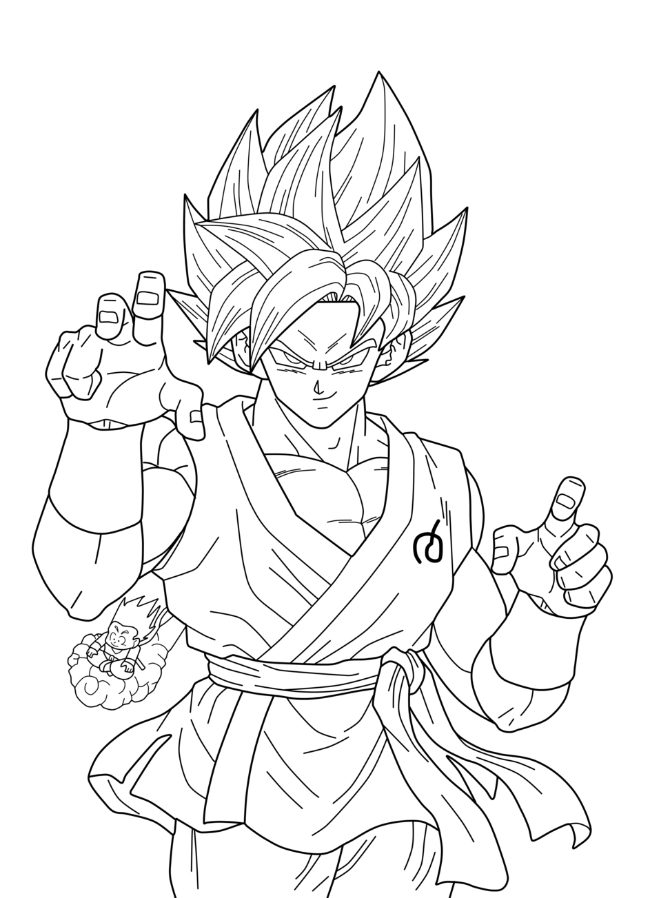 coloriage facile dragon ball san goku super sayian blue