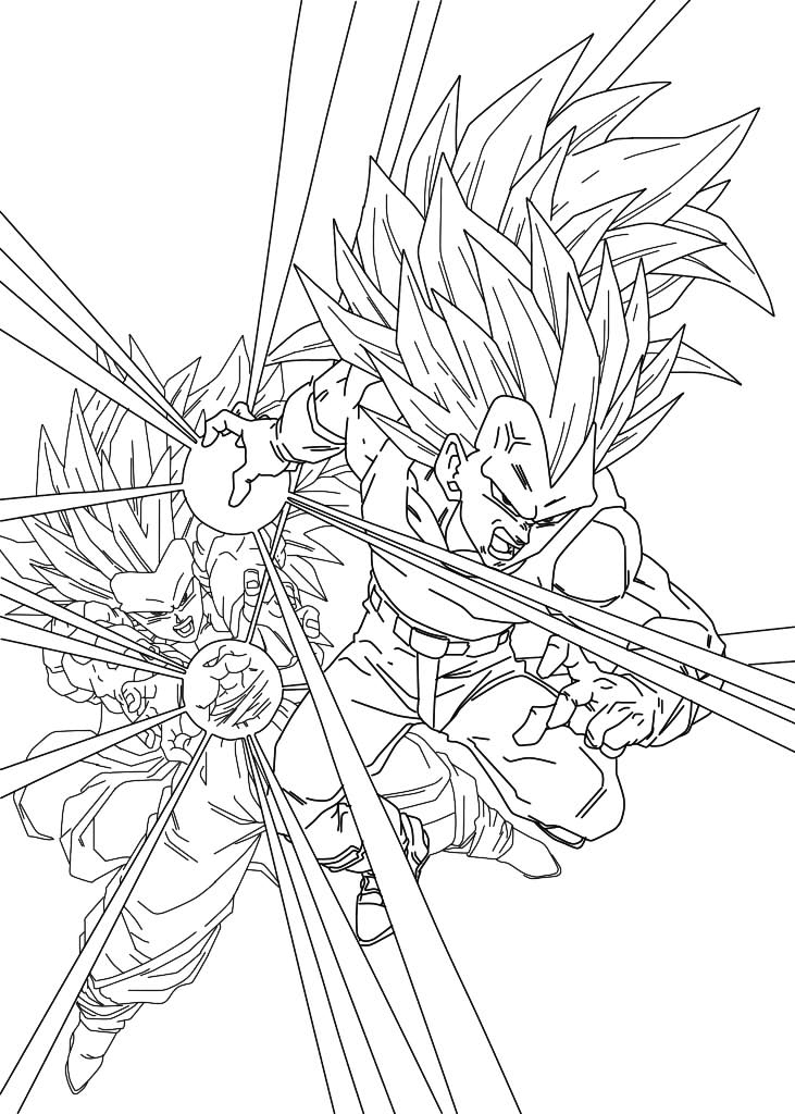 Facile dragon ball vegeta et goku super saiyan 3 fanart coloriage dragon ball z coloriages - Dessin dragon ball z facile ...