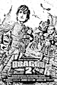 Coloriage dragon 2 affiche
