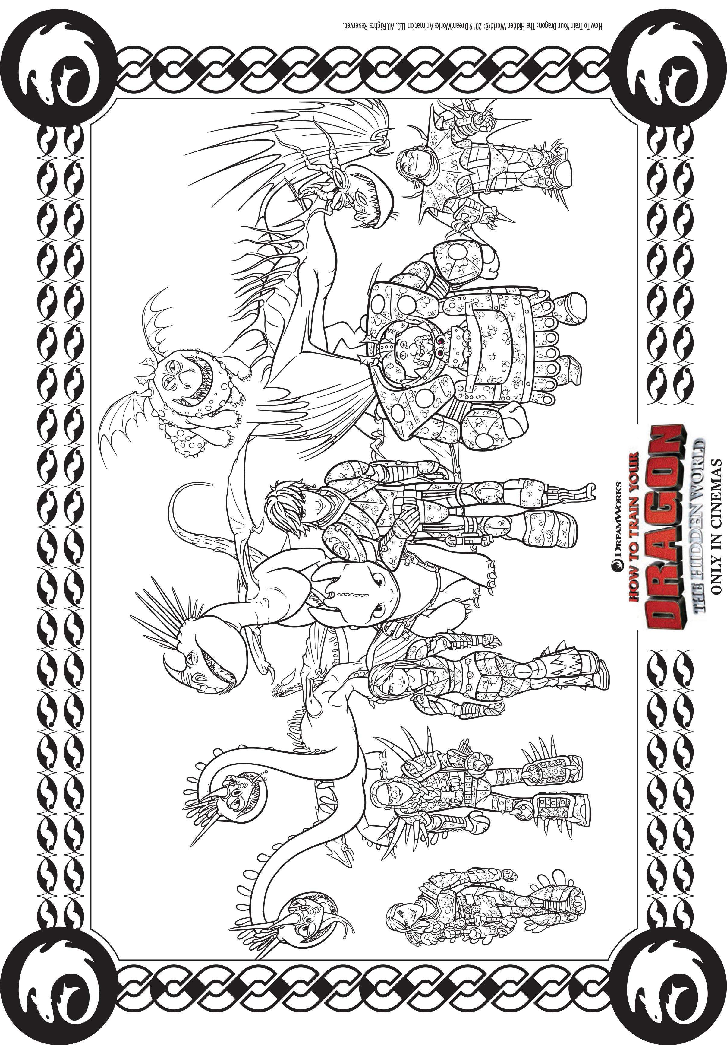 Coloriez toute l'équipe du film Dragons 3 !