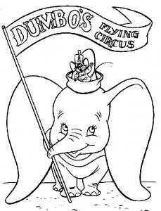 Coloriage de Dumbo à imprimer pour enfants
