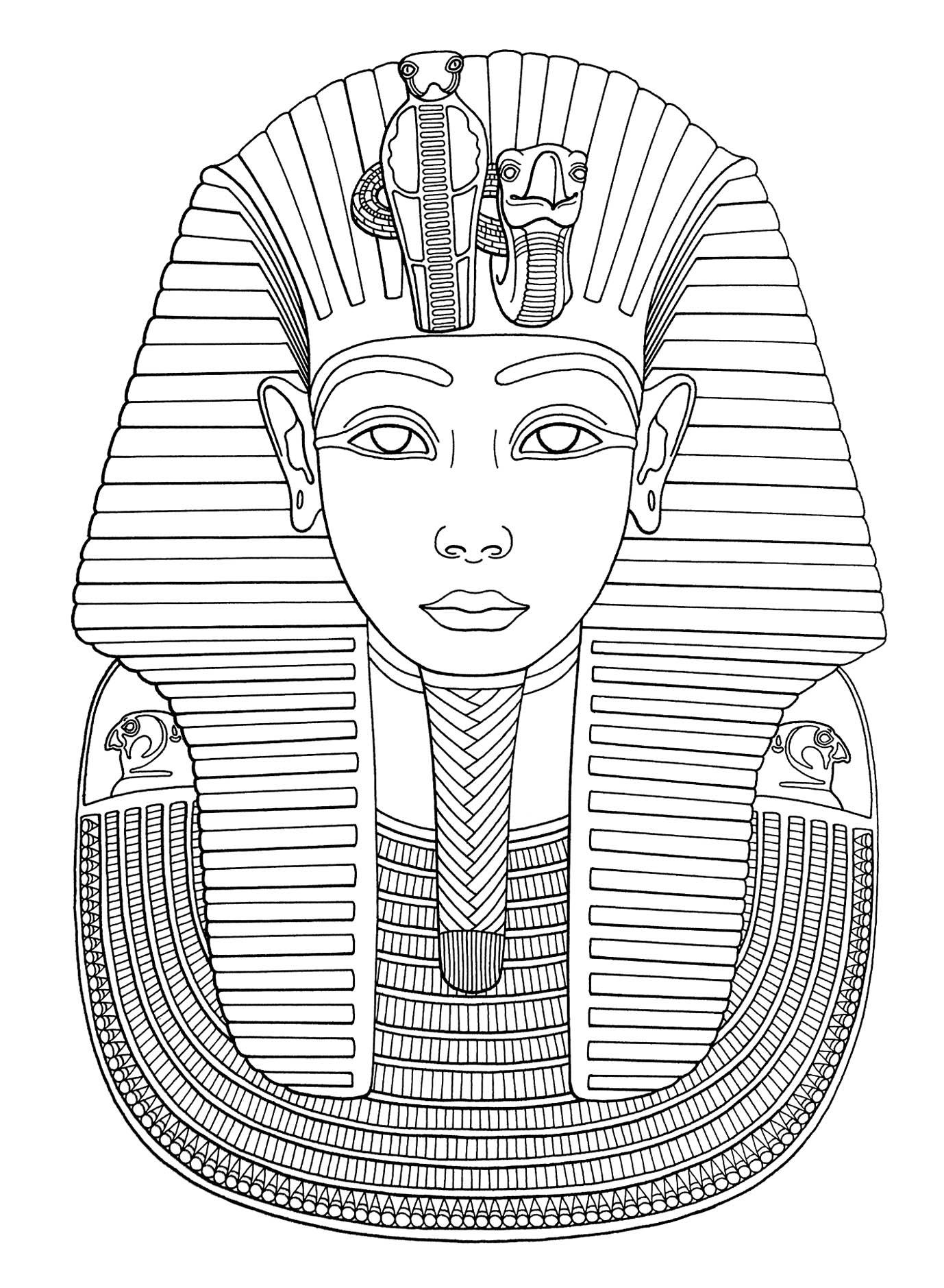 Masque Du Pharaon Toutankhamon Coloriage Sur L Egypte Pyramides