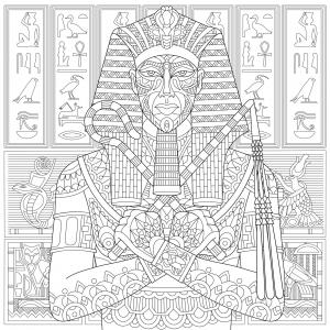 Coloriage pharaon ancienne egypte