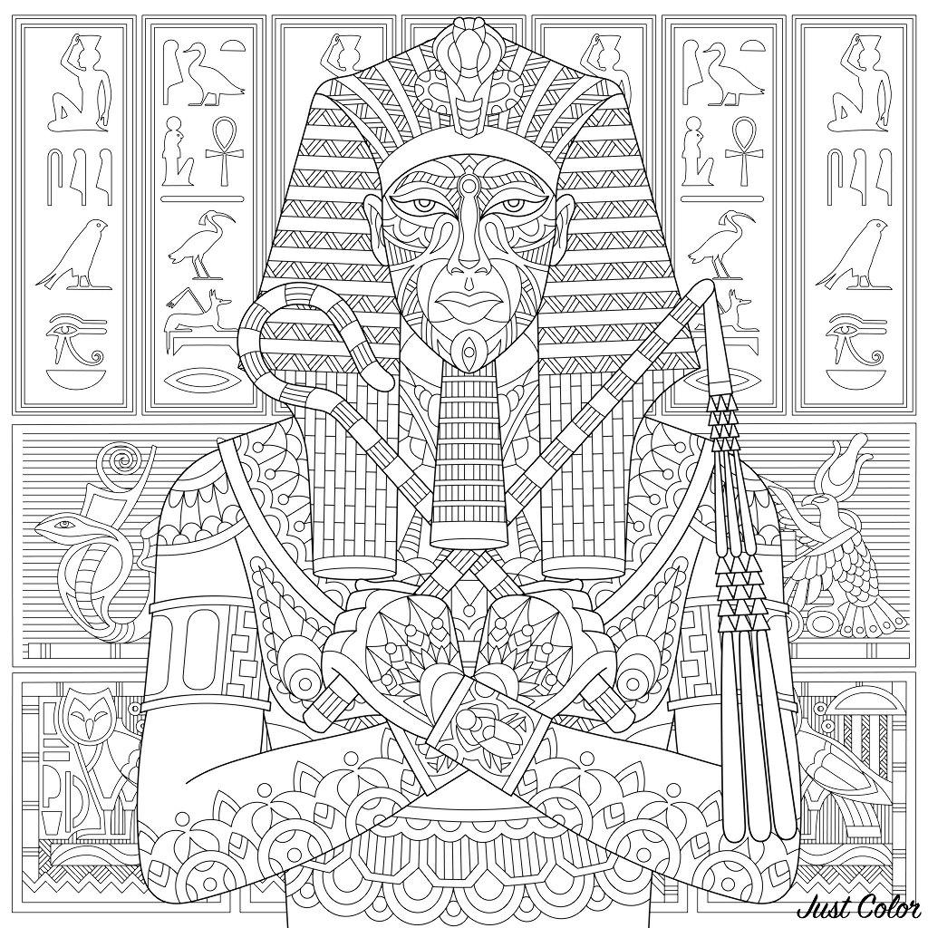 Pharaon et hiéroglyphes : un coloriage très complexe