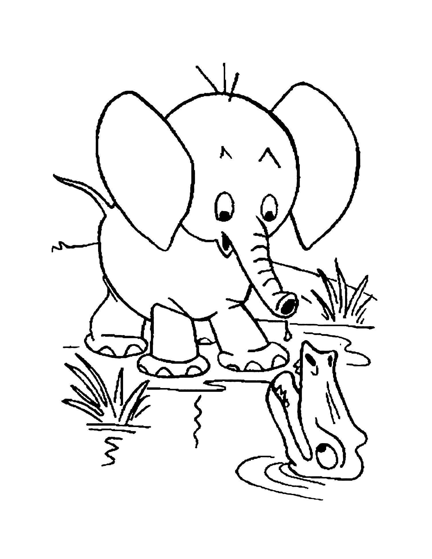 Coloriage d'éléphant à imprimer gratuitement - Coloriage d'éléphants - Coloriages pour enfants