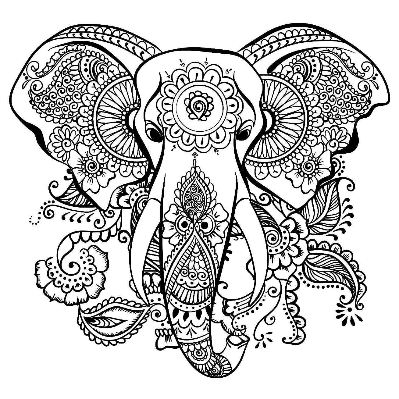 Dessin d'éléphant gratuit à imprimer et colorier - Coloriage d'éléphants - Coloriages pour enfants