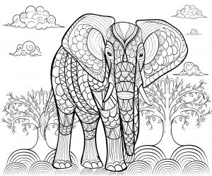 Coloriage de eléphant à imprimer gratuitement