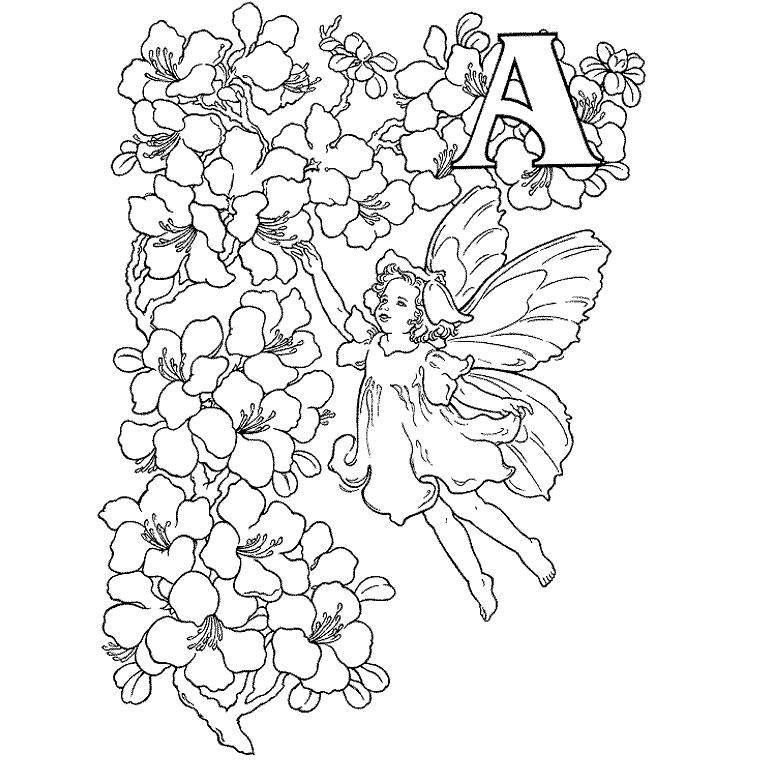 La Lettre A illustrée dans un style très début XXe siècle avec une fée