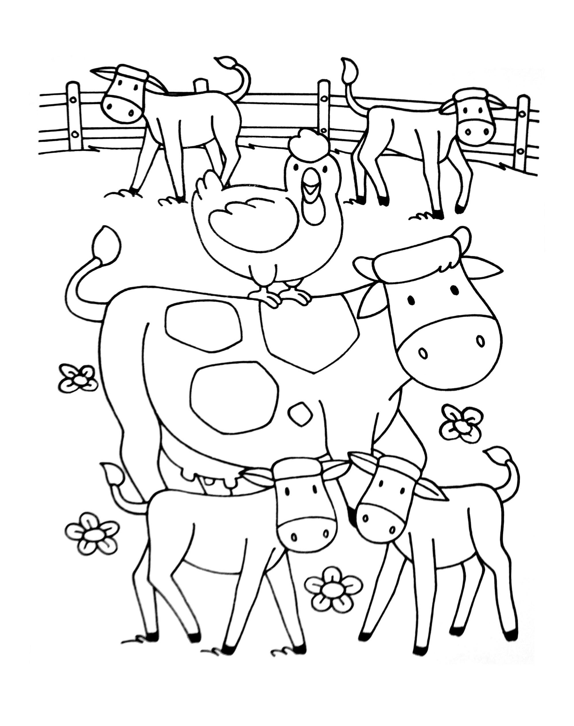 A imprimer chats 10 coloriage sur la ferme tracteurs - Jeux de coloriage de chat ...