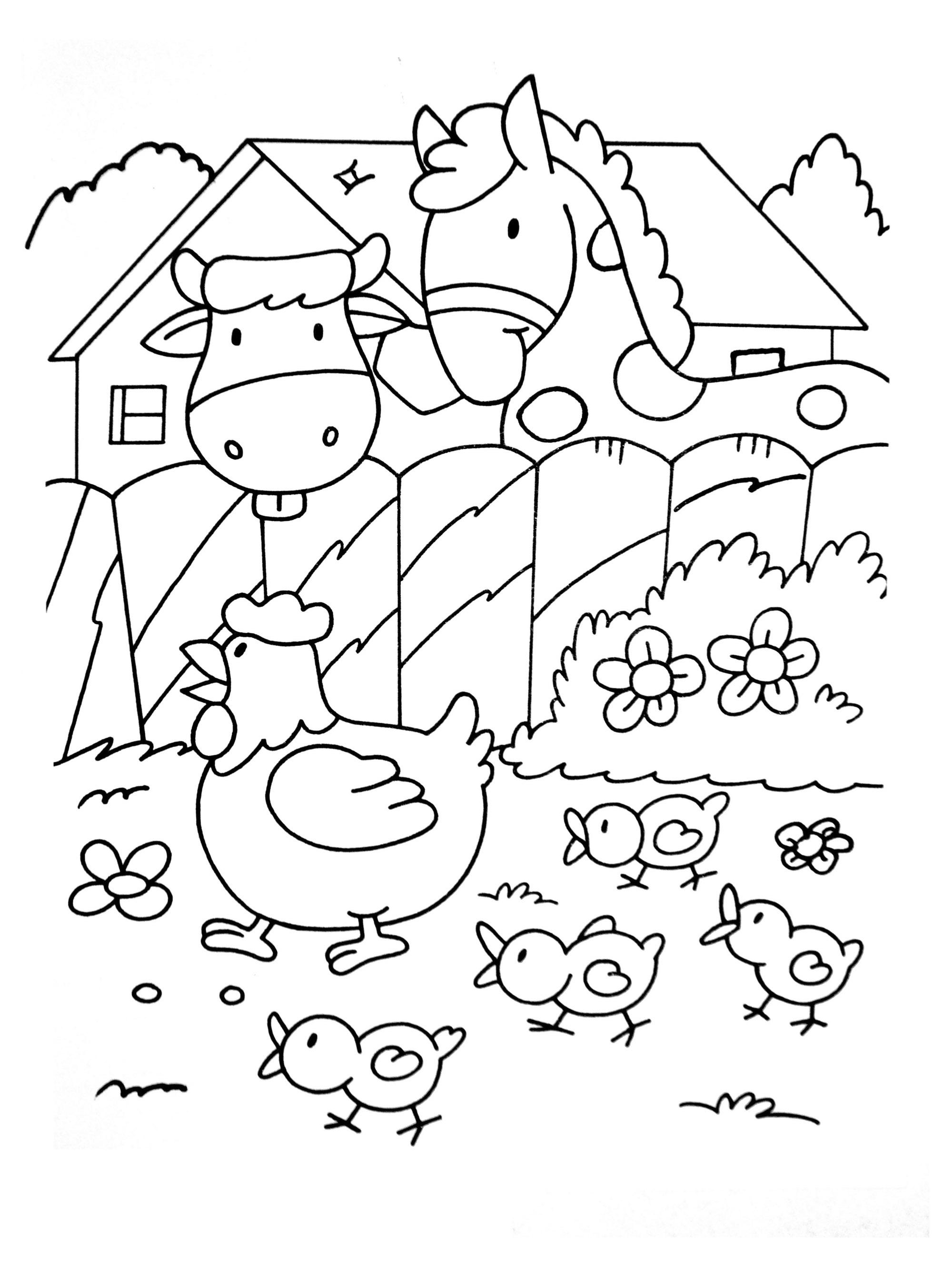 A imprimer chats 14 coloriage sur la ferme tracteurs fermier animaux coloriages pour - Dessin de ferme ...