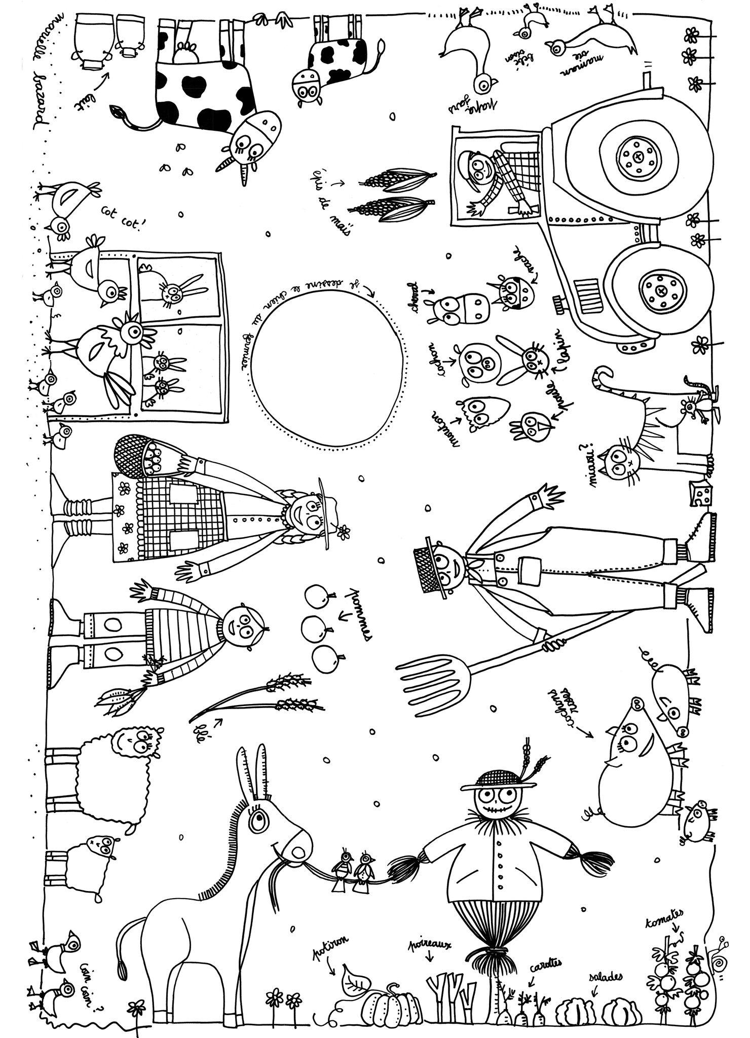 Plusieurs visuels et personnages associés à la ferme à colorierA partir de la galerie : Ferme