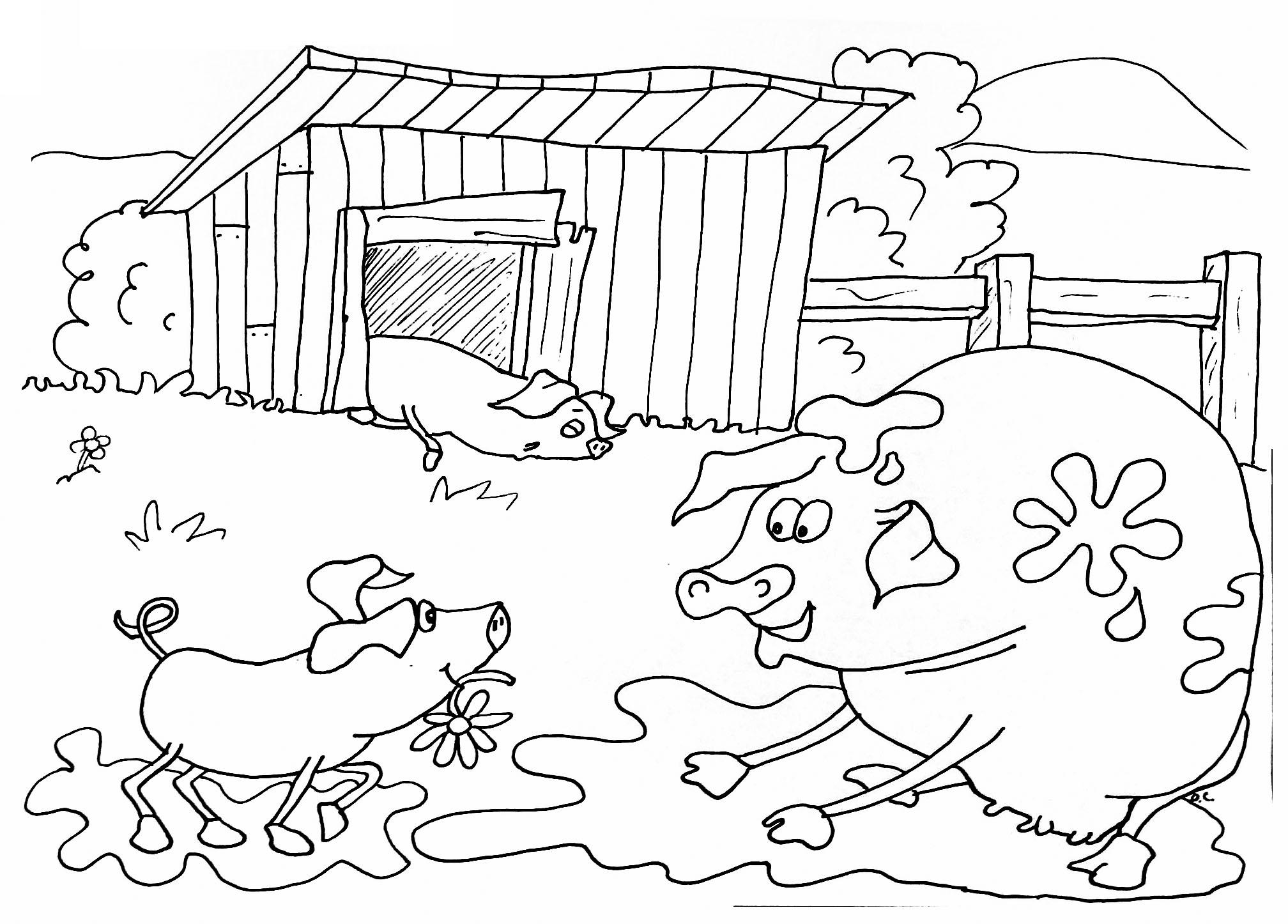Coloriage sur la Ferme, avec 3 cochons aimant dormir et se laver dans la boue.A partir de la galerie : Ferme
