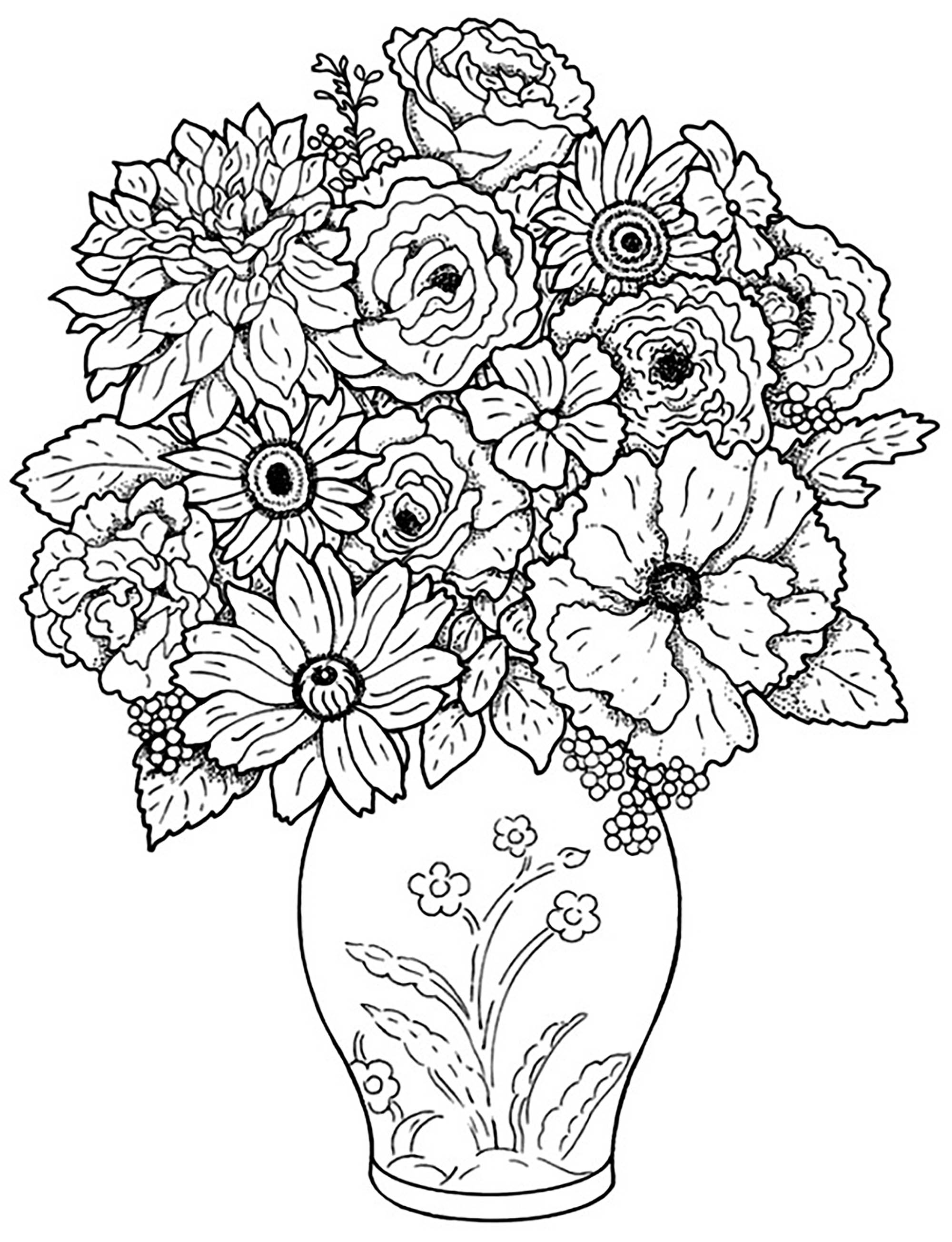 fleurs bouquet coloriage de fleurs coloriages pour enfants. Black Bedroom Furniture Sets. Home Design Ideas