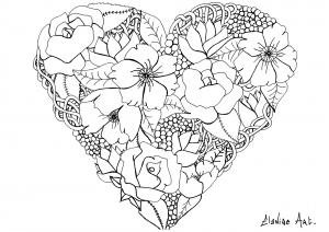 Coloriage elanise art coeur fleuri