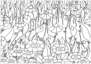 Coloriage elanise art fleurs montantes descendantes
