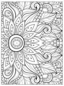 Coloriage fleur multiples petales