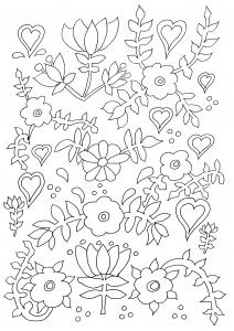 Coloriage naïf Fleurs