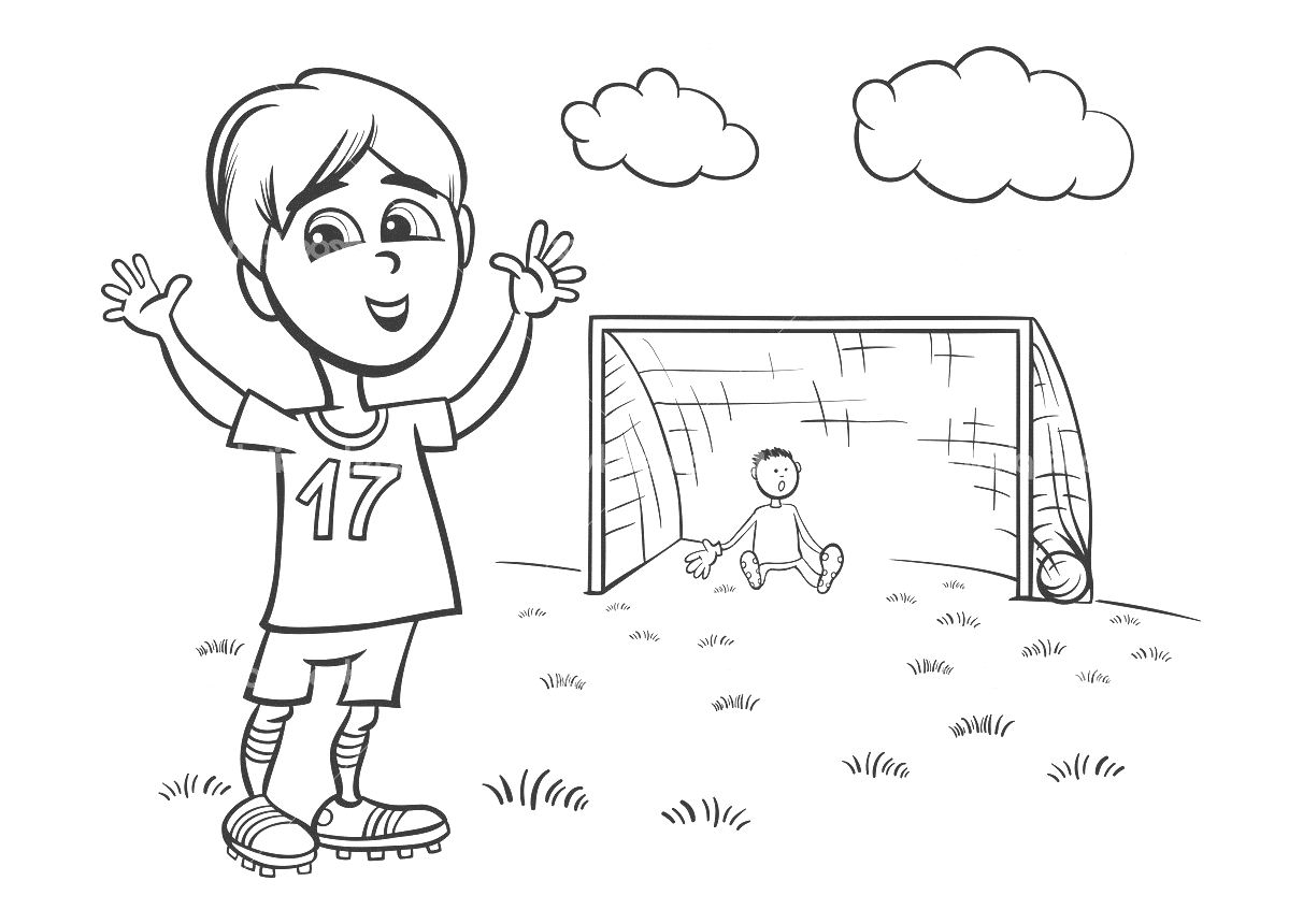 Black and white cartoon illustration of cute boy playing - Coloriage de foot ...