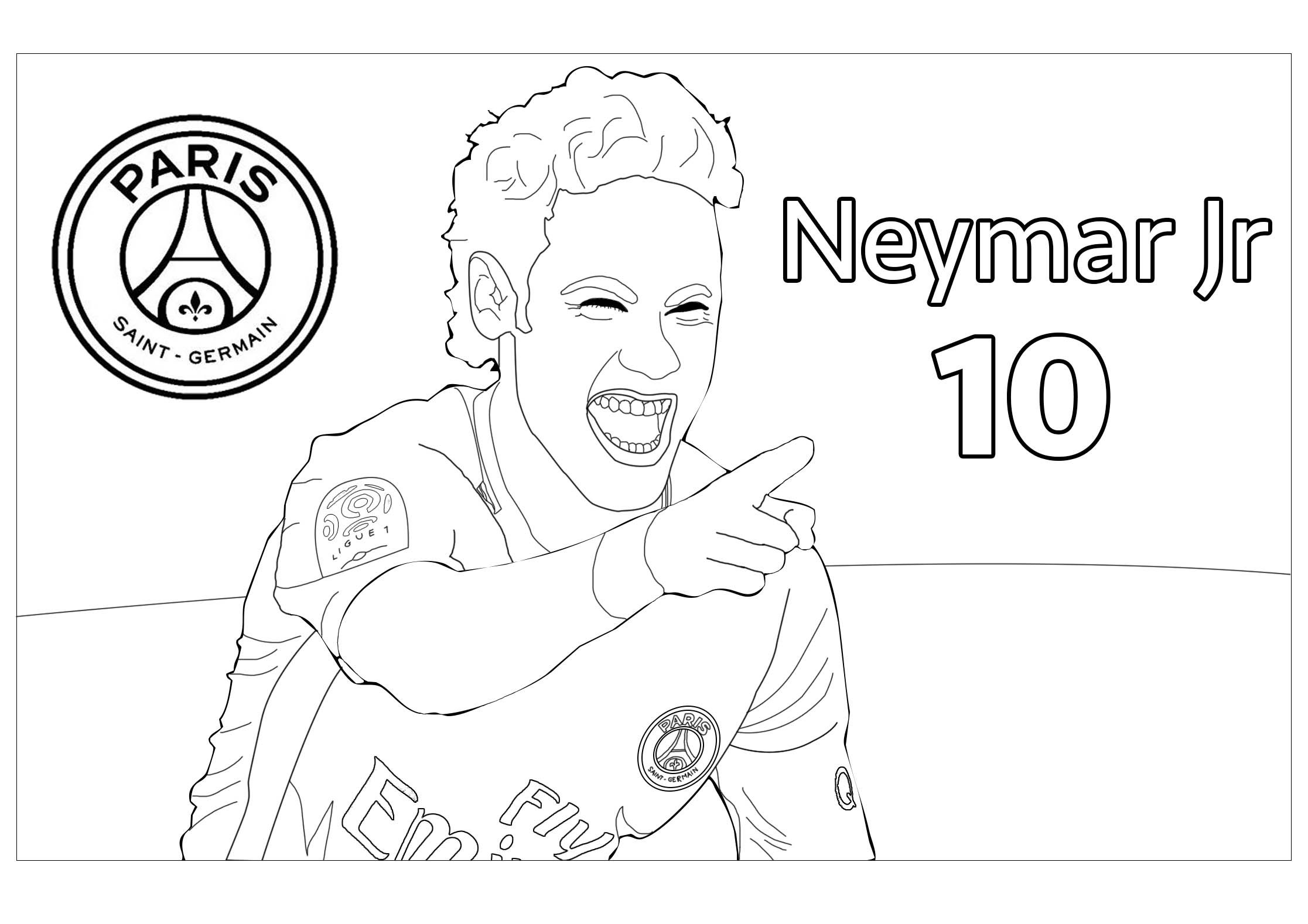Neymar Jr 1 Coloriage Football Coloriages Pour Enfants