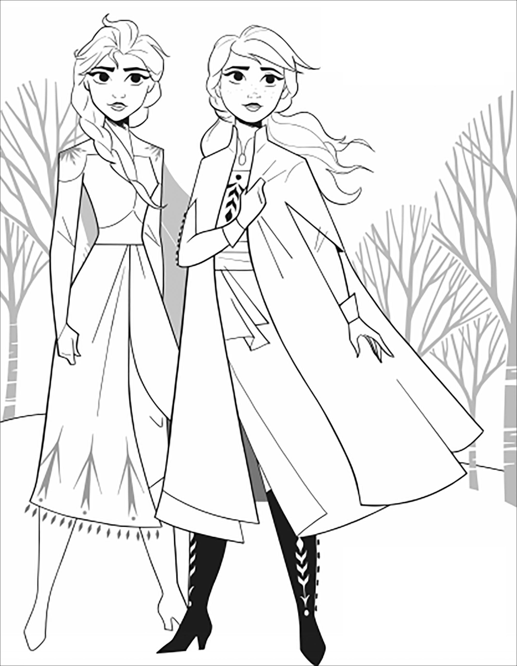 La Reine Des Neiges 2 Elsa Et Anna Sans Texte Coloriage La