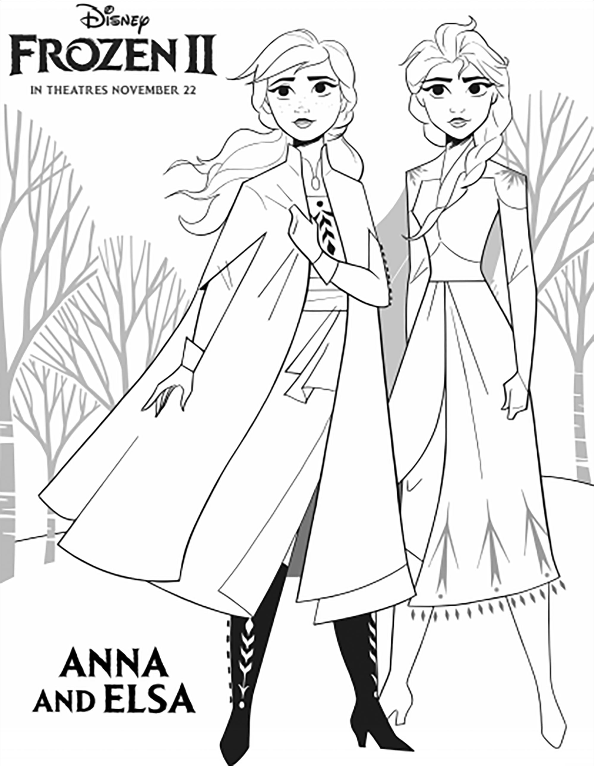 La Reine Des Neiges 2 Elsa Et Anna Avec Texte Coloriage La