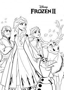 Olaf, Anna, Elsa, Sven et Kristoff