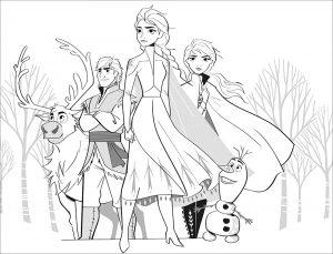 La reine des neiges 2 : Elsa, Anna, Olaf, Sven, Kristoff (sans texte)