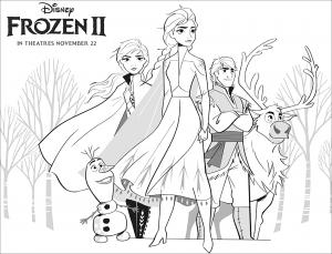 La reine des neiges 2 : Elsa, Anna, Olaf, Sven, Kristoff (avec texte)