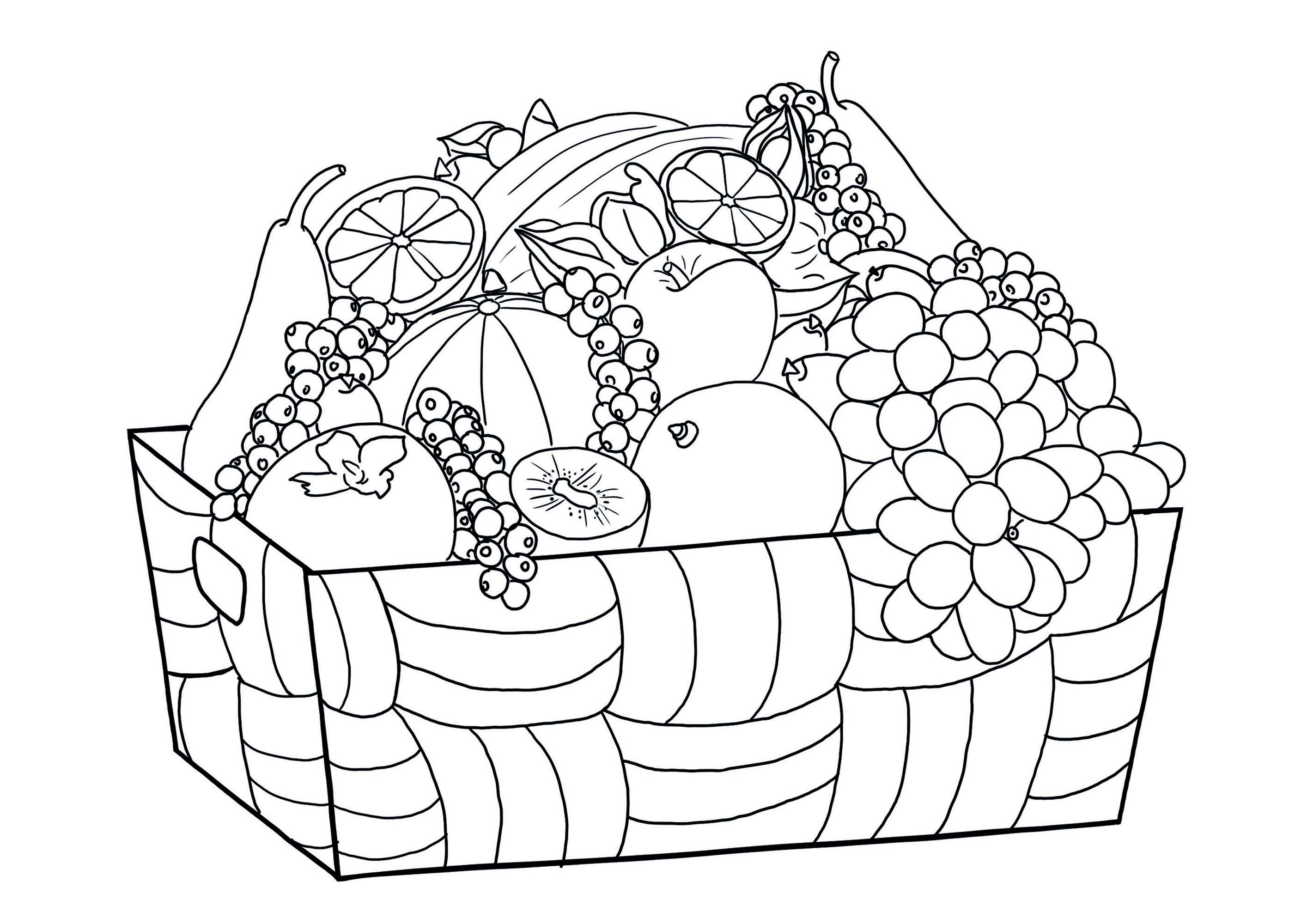Coloriez ce joli panier de fruits !