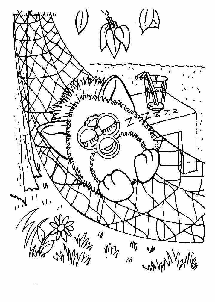 Furby en plein repos, à imprimer et colorier