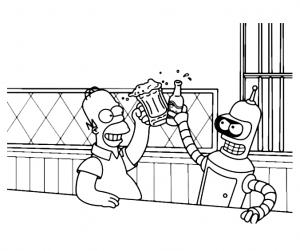 Coloriage de Futurama à imprimer pour enfants