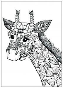 Girafe fleurie