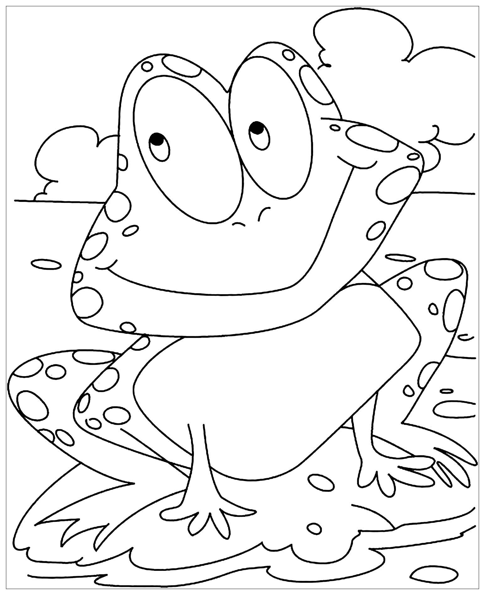Coloriage amusant de grenouille à imprimer et colorier