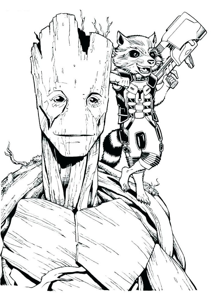Groot (quand il était grand) et Rocket Raccoon