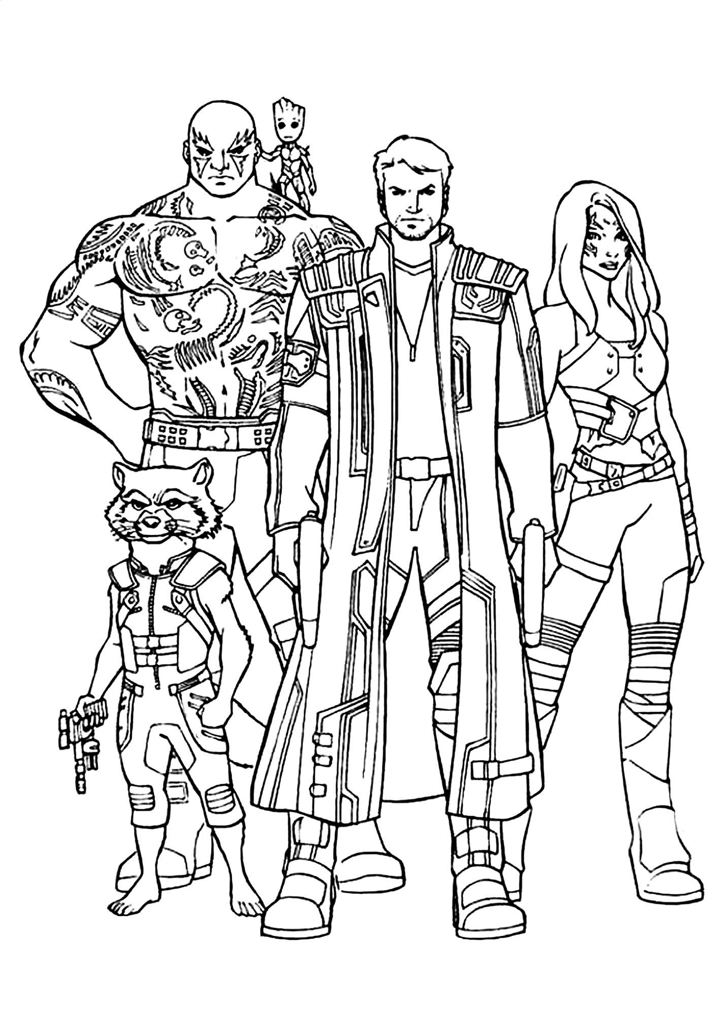 Les différents personnages de 'Les Gardiens de la Galaxie'