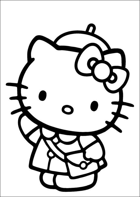 Hello Kitty dit bonjour, simple coloriage pour petits