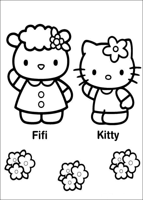 La jolie Hello Kitty et son amie Fifi à colorier