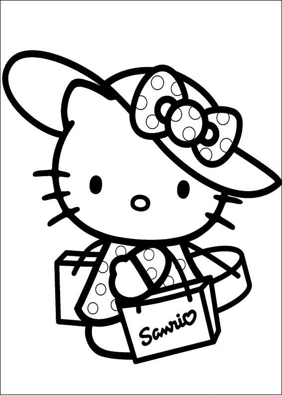 Joli Coloriage avec traits épais de Hello Kitty avec chapeau