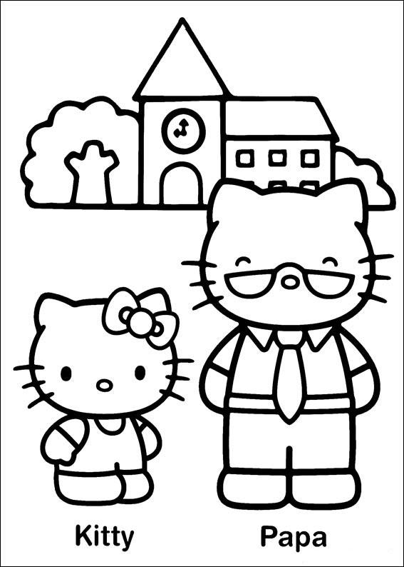 Hello Kitty et son papa à colorier, avec maison en arrière plan