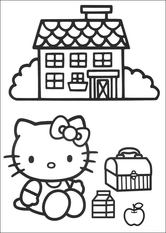 Hello Kitty et sa maison à mettre en couleur