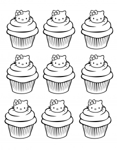 coloriage-cupcakes-hello-kitty-simple