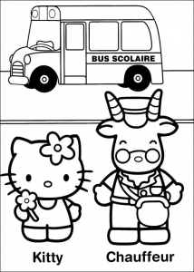 Coloriage Hello Kitty et son ami cornu
