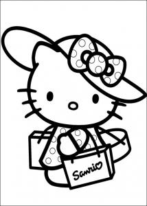 Coloriage Hello Kitty avec chapeau